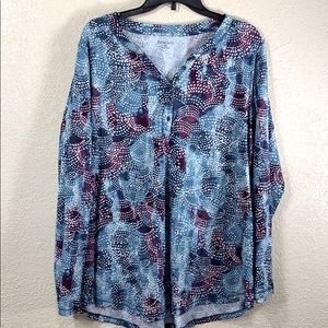 Relativity Top Blouse 2x Blue  Purple White
